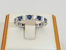 Damen Hand Made Sterling 925 Silber Blau und Weiß Saphir Full Eternity Ring