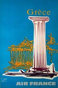 MATHIEU GEORGES AIR FRANCE GRECE 1967 VINTAGE POSTER