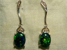 Opal Earrings 14ct White Gold & Diamond. Natural Triplet Opals 8x6mm Oval. 80310