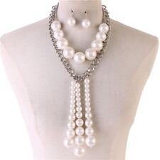 White Faux Pearl Silver Link Y Style Chunky Necklace earring Set