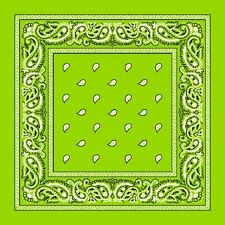 Lime Green Paisley Center Cotton Bandana Scarf Handkerchief Hanky 18 X 18 Inch