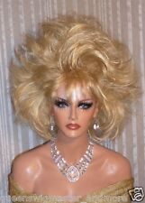 Drag Queen Wig Teased Out Soft Golden Pale Blonde Medium Length