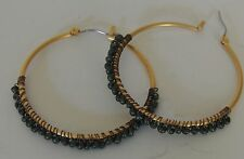Estate Green Turquoise Seed Beaded Large Gold Plated Loop Pierced Earrings