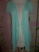 """""""MAURICES"""" Summery Open Vest Cardigan, Teal/Lace Back Insert, Small,DESIGNER"""
