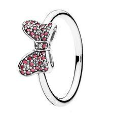 Authentic  pandora ring Disney Minnie Sparkling Bow Ring Box Inc S-56 #190956CZR