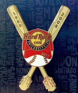2017 HARD ROCK CAFE PHILADELPHIA PHILLIES BASEBALL WORLD SERIES 1980 & 2008 PIN