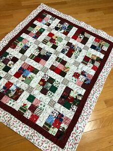 """Christmas 9 patch Scrappy quilt  lap wall throw baby  37"""" x 45"""""""
