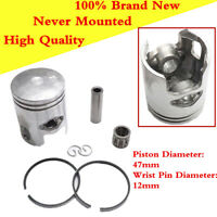 1 Set Scooter Motorcycle Piston Kit Include 47mm Piston Ring 12mm Wrist Pin