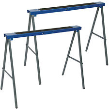 Silverline Twin Pack Metal Saw Horse Trestles - 125kg Max Load Woodworking Tools