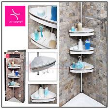3 TIER White Silver TELESCOPIC Bathroom CORNER BASKET Tubs Shelf Rack Organiser