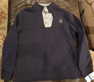 Men's Spyder Quilted Button Pullover Sweater Ski Frontier Blue Size S $149