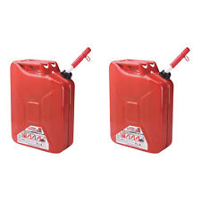Midwest Can Company 5-Gallon Metal Gas Can with Quick Flow Spout, Red (2 Pack)