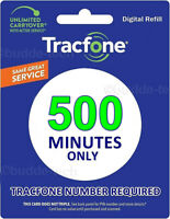 TracFone 500 Minutes - Talk Time Add-On Refill Card for SmartPhone Airtime PIN #