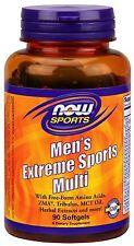 Now Foods Men's Extreme Sports Multi 90 Gels Amino Acids ZMA MCT Oil Tribulus