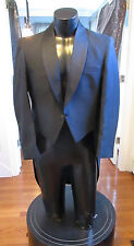 MENS VINTAGE BLACK SWIRL TAIL COAT SHAWL LAPEL RAFFINATI ROBERT WAGNER 44R