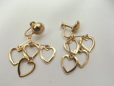 """VINTAGE GOLD TONE TARNISHED SCREWBACK CHANDELIER Earrings APPROX. 2.5"""" (H)"""