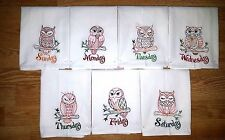 OWL DAYS OF THE WEEK EMBROIDERED FLOUR SACK DISH TOWELS