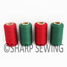 CHRISTMAS RED AND GREEN SPUN POLYESTER SERGER & QUILTING THREAD 4 TUBES