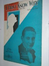 """VINTAGE 1931 SHEET MUSIC: """"I DON'T KNOW WHY (I JUST DO)"""" - GUY LOMBARDO COVER"""