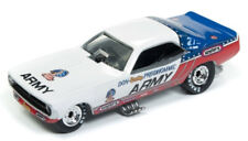 1/64 Racing Champions Mint 1973 Plymouth Cuda FC in Red, White, & Blue w/ US Arm