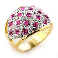 Bague luxe plaqué or 18k femme mode chic serti zirconium rubis diamant jonc