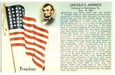 Postcard Abraham Lincoln Gettysburg Address Nov 19 1863 American Flag