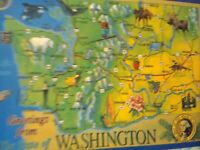 BEAUTIFUL PHOTO POST CARD AERIAL VIEW GREETINGS MAP STATE OF WASHINGTON