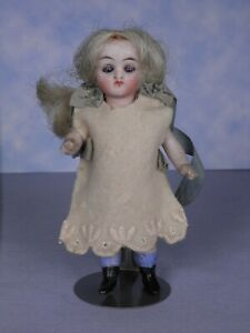 Antique All Bisque French? Round Face Mignonette Dollhouse Girl Blue Sleep Eyes