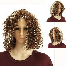 Synthetic Long Afro Curly Wig Mix Blonde Wigs for Women African American Hair