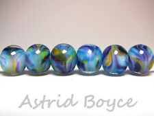 Twilight Grove Rounds - Handmade Artisan Lampwork Beads - SRAB-195 10mm blue