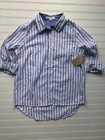 Anthropologie Eden & Olivia Shirt Small White Blue Striped Shirt Top NEW