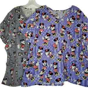 Disney lot of 2 scrub tops: gray Minnie & Mickey & violet Minnie Mouse, size 3X