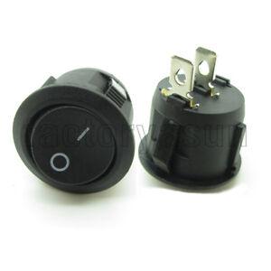 """5PCS Round Black Power Rocker Switch 2 Pin SPST ON-OF 20mm 0.79"""" 12V 10A CE"""