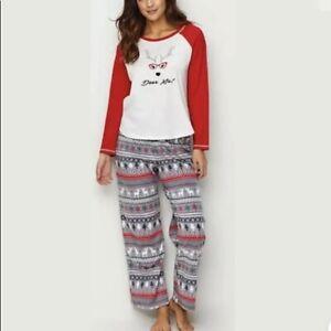 Karen Neuburger Deer Me 2pc Women's Pajama Shirt & Fleece Pant Set Sz XL