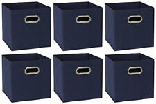 Foldable Fabric Storage Bins | Set of 6 Cubby Cubes with Handles Navy Blue