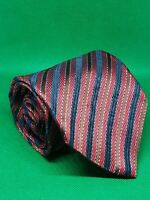 "Ermenegildo zegna silk neck tie 59"" × 3 3/4"" red white blue brown striped tie"