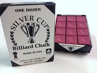 Quality USA Silver Cup Pool Snooker Billiard Cue Tip Table Chalk BURGUNDY
