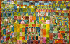 """PAUL KLEE :: THE TEMPLE DISTRICT OF PERT :: 24"""" CANVAS ABSTRACT FINE ART PRINT"""
