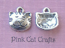 10 x SMILEY CAT HEAD CHESHIRE ALICE Tibetan Silver Charms Pendants Beads