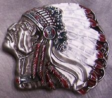 Pewter Belt Buckle novelty American Indian Chief NEW Profile