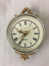 """Dainty White & Goldtone Battery Operated 2.5"""" Wall Clock"""