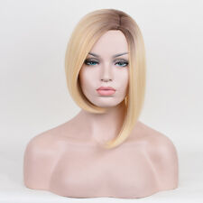 Blonde Side Parting Light Bob hair Oblique A-Line Dark Root Ombre Short Wig Wigs