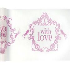 """Chemin de table Vintage """"With Love"""" rose"""