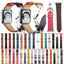 NEW Leather Strap Butterfly Buckle Watch Band For Apple Watch Series 6 5 4 3 2 1