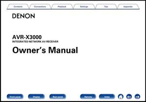 Denon AVR-X3000 AV Receiver Owner's Manual - Operating Instructions - Full Color