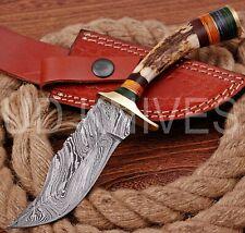 8 INCH UD CUSTOM DAMASCUS STEEL HUNTER KNIFE Stag/ANTLER  HANDLE B4-11536