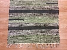 Striped Green Black Handloomed 100% Cotton Rag RUG Durrie Mat 60x90cm 2x3 50%OFF