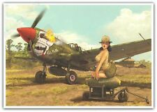 Ex-libris Romain Hugault Angel Wings Pin-Up Avion Eduard P-40N Signé A4