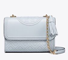 TORY BURCH FLEMING SMALL QUILTED Conv Satchel Cross-Body In SELTZER Leather $458