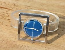 VTG Mid-Century Clear Lucite Watch Retro Mid Century Modern Bracelet Bangle